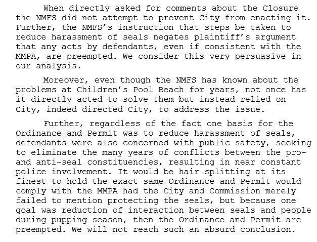 Excerpt from Appellate Court Opinion in Favor of the Seals